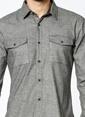 Lee Cooper Uzun Kollu Slim Fit Gömlek Gri
